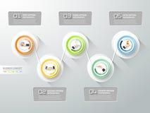 Abstract 3d infographic malplaatje 5 stappen, Stock Afbeelding