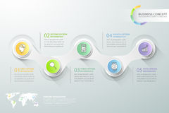 Abstract 3d infographic 5 options,  Business concept infographic. Template can be used for workflow layout, diagram, number options, timeline or milestones Royalty Free Stock Photo