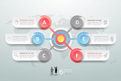 Abstract 3d infographic 6 options,  Business concept infographic. Template can be used for workflow layout, diagram, number options Royalty Free Stock Image