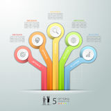 Abstract 3d infographic 5 options, Business concept infographic. Template can be used for workflow layout, diagram, number options Stock Illustration
