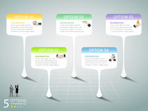 Abstract 3d infographic 5 options, Business concept infographic. Template can be used for workflow layout, diagram, number options Royalty Free Illustration