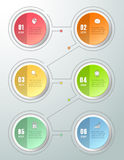 Abstract 3d infographic 6 options. Business concept infographic template can be used for workflow layout, diagram, number options, timeline or milestones Royalty Free Stock Photography