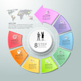 Abstract 3d infographic 8 options, Social media concept infographic. Template can be used for workflow layout, diagram, number options, timeline or milestones stock illustration