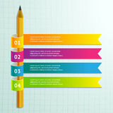 Abstract 3D infographic with pencil and colorful ribbons. Stock Photography