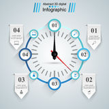 Abstract 3D Infographic. Speedometer, arrow icon. Stock Images