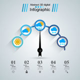 Abstract 3D Infographic. Speedometer,wheather, sun, cloud, drop. Infographic design template and marketing icons. Speedometer icon. Arrow icon stock illustration