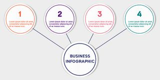 Business infographic template. Abstract 3D infographic template with a four steps. Business circle template with options for brochure, diagram, workflow Royalty Free Stock Photos