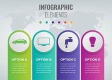 Abstract 3D infographic template with 4 options. Business presentation concept. Vector. Illustration Royalty Free Stock Image