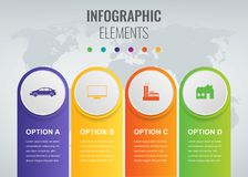 Abstract 3D infographic template with 4 options. Business presentation concept. Vector. Illustration Stock Photos