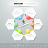 Abstract 3d infographic template 6 steps,. Can be used for workflow layout, diagram, number options, graphic or website layout royalty free illustration