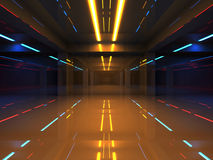Abstract 3d interior with colorful neon lights. In shining corridor stock illustration