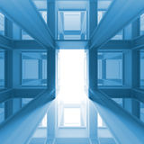 Abstract 3d interior with glowing door. Abstract blue 3d interior with glowing door royalty free illustration