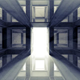 Abstract 3d interior with glowing door Royalty Free Stock Photo