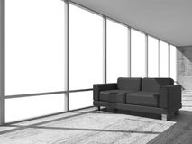 Abstract 3d interior, office room with black sofa. Abstract interior, office room with concrete floor, white window and black leather sofa, 3d illustration Stock Images