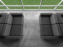 Abstract 3d interior, room with sofas and grass. Abstract interior, concrete office room fragment with windows and black leather sofas, green grass grow outside Stock Photo