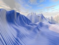 Abstract 3d landscape. Render illustration. Abstract 3d landscape. Render illustration, blue color tone Stock Photography