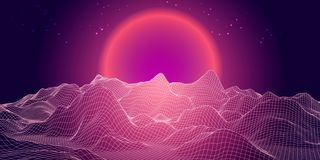 Abstract 3d landscape with sphere sun on horizon. Technology ve. Ctor background Royalty Free Illustration