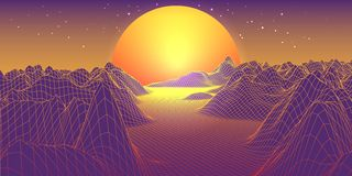 Abstract 3d landscape with sphere sun on horizon. Technology vec. Abstract landscape with sphere sun on horizon. Technology vector background Royalty Free Illustration
