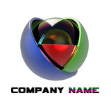 Sphere 3d logo. Abstract 3d logo for industry Royalty Free Stock Photos