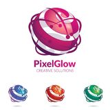 Abstract 3D logo stylised spherical surface. 3D Logo stylized spherical surface with abstract shapes. This logo is suitable for global company, world Stock Image