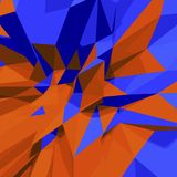 Abstract 3d low polygon background. Blue and orange. Abstract 3d polygon background. Blue and orange vector illustration