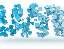 Abstract 3d metal cubes. 3d cubes blue gradient and shadow vector illustration