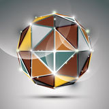 Abstract 3D metal festive sphere with sparkles, bright twinkle o. Rb created from triangles, disco theme Stock Photos