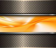 Abstract 3D metallic background. With orange abstract wave, vector illustration vector illustration