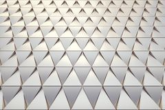 Abstract background of polygonal shape. Abstract 3D minimalistic geometrical background of golden triangles Royalty Free Stock Images