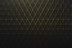 Abstract background of polygonal shape with golden lines. Abstract 3D minimalistic geometrical background of triangles stock illustration