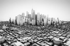 Abstract 3d model of a large city Royalty Free Stock Photo