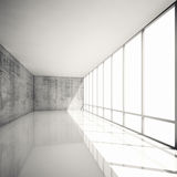 Abstract 3d modern architecture background, empty interior. Abstract modern architecture background, empty white interior with bright windows and concrete walls Royalty Free Stock Image