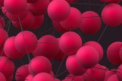 Abstract 3D Modern Background. Abstract 3d rendering of modern background with spheres. Futuristic shape, network concept. Design for poster, cover, branding royalty free illustration