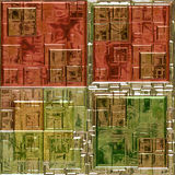 Abstract 3d mosaic background of stained glass squares. Red, green, brown and gold pattern with mosaic tiles Royalty Free Stock Photo