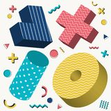 Abstract 3D objects design memphis style pattern with colorful geometric elements on white background stock illustration