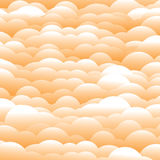Abstract 3d orange evening clouds background (backdrop). Vector graphic. This illustration contains layers of clouds in light orange and white color Royalty Free Stock Images