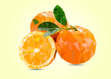 Abstract 3D oranges cut with connected lines. Royalty Free Stock Image