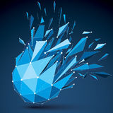 Abstract 3d origami figure with connected white lines and dots. Vector low poly shattered design element with fractures and particles. Explosion effect royalty free illustration