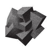 Abstract 3D overlapping dotwork cubes Stock Photos