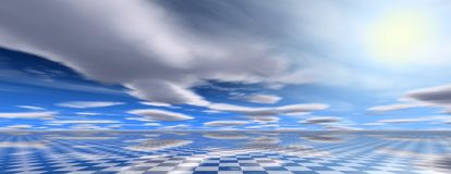 Abstract 3D panorama with chessboard. Abstract 3D panorama with chessboard and blue cloudy sky Royalty Free Stock Image