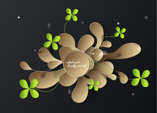Abstract 3d paper background with golden leafs. And four leaf clovers vector illustration