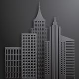 Abstract 3D Paper  Black Skyscrapers. Vector Illustration Stock Photos