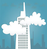Abstract 3D Paper Buildings and cloud. Illustration Vector Illustration