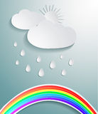 Abstract 3D paper cloud. With drops and rainbow Royalty Free Stock Photo