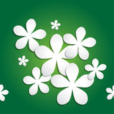 Abstract 3d paper flower pattern on green background Stock Photo