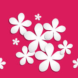 Abstract 3d paper flower pattern on pink red background Royalty Free Stock Photos
