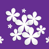 Abstract 3d paper flower pattern on purple background Stock Photos