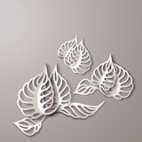 Abstract 3D Paper Flowers. Abstract background with 3D Paper Gray Flowers stock illustration