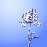 Abstract 3D Paper Flowers. Abstract blue background with 3D Paper Gray Flowers stock illustration