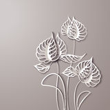 Abstract 3D Paper Flowers. Abstract 3D Paper Gray Flowers vector illustration